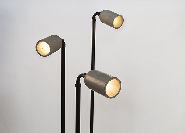 Sleek lamps made from cement and upcycled construction waste by Bentu