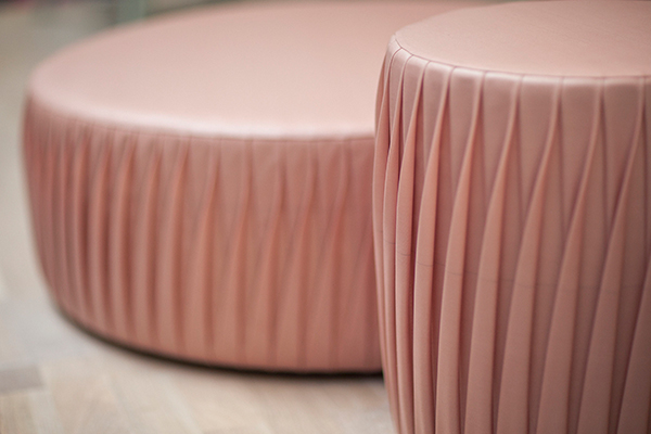 Pouf made from upcycled pink airbag material by Marie-Louise Hellgren