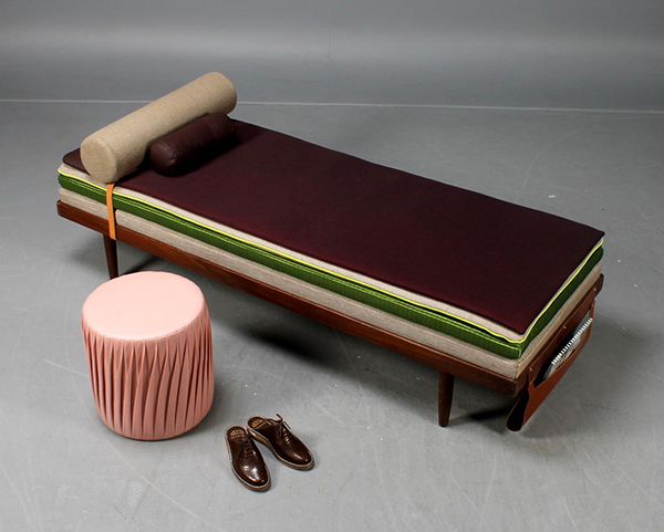 Vintage 1950s day bed upcycled with waste textiles and pouf made from upcycled airbag material by Marie-Louise Hellgren