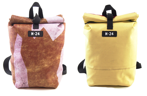 Patterned brown and yellow backpacks made from upcycled tarpaulin by M-24