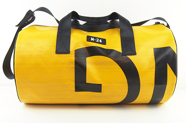 Yellow Weekender Duffle Bag made from upcycled tarpaulin by m-24
