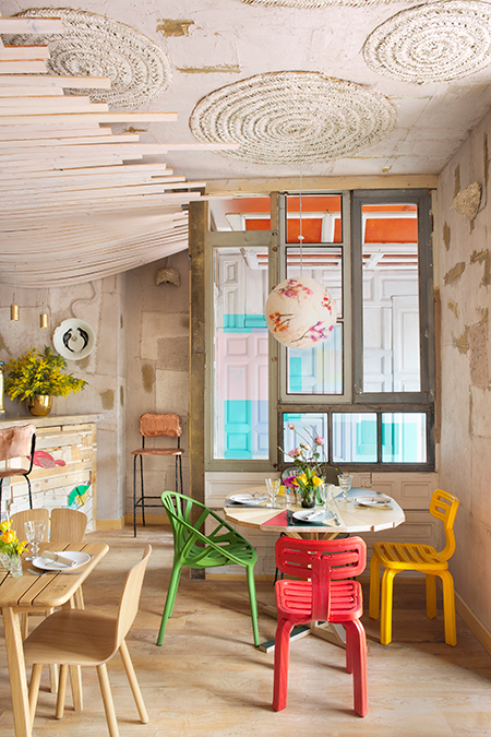 Chubby dining chairs in Mama Campo restaurant interior design