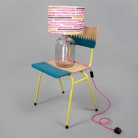 Colourful upcycled lamp and chair by Humblesticks