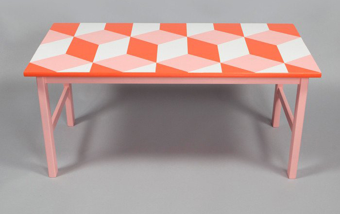 Table upcycled with pink and orange geo pattern by Humblesticks