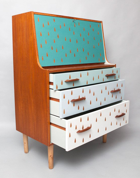Vintage bureau upcycled with painted blue raindrop pattern by Humblesticks