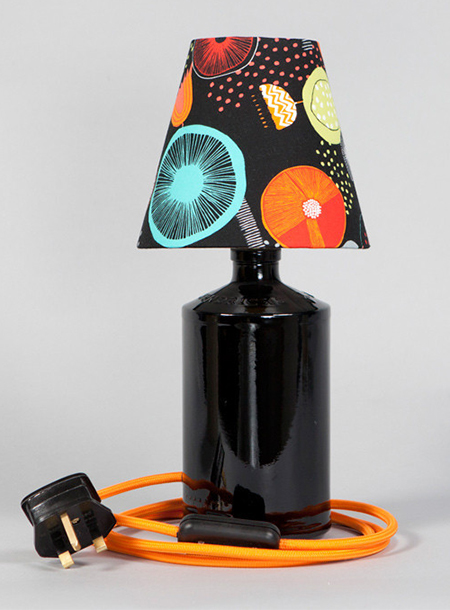 Upcycled gin bottle table lamp by Humblesticks