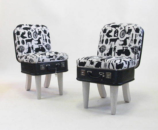 Black and white chairs made from suitcases by REcreate