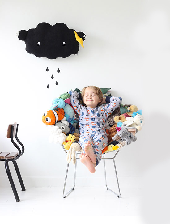 Upcycled chairs for kids bedrooms made from plushie toys