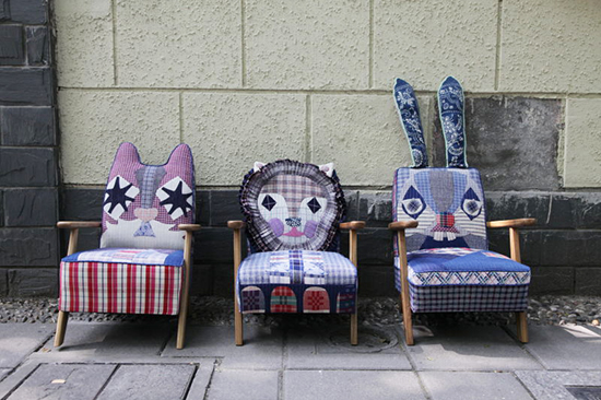 childrens chairs with animal faces upholstered with upcycled vintage fabrics by Brut Cake
