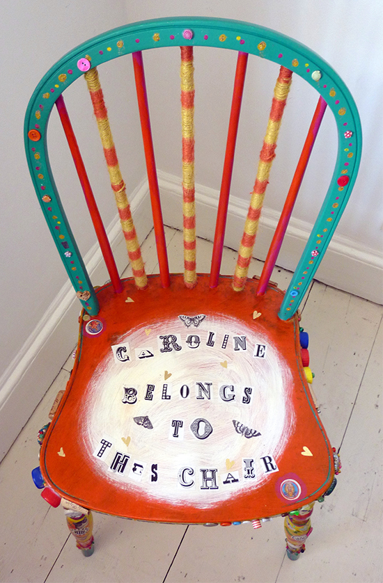 Colourful personalised chair upcycled with buttons and thread by Sophie Crichton