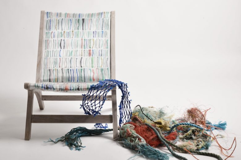 Debris Chair made from ocean plastic textile by Carmen Machado