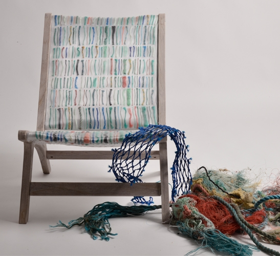 Debris Chair made from ocean waste textile by Carmen V Machado