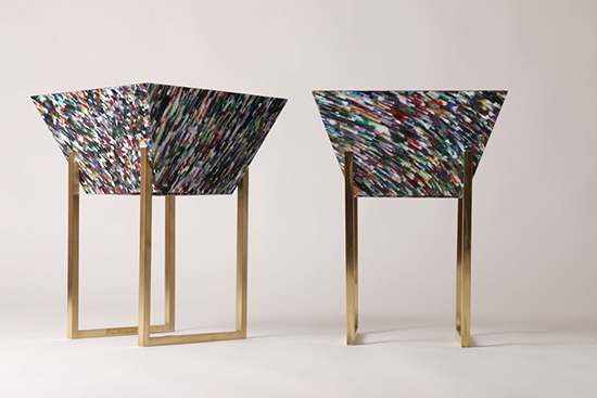 Interior object made of recycled plastic panels by Margot Hamelin