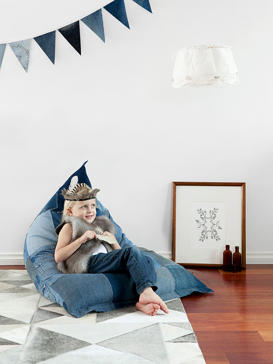 Upcycled chairs for kids bedrooms made from upcycled jeans by Jeanbag