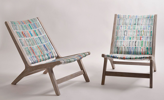 Chairs made out of ocean waste texile by Carmen V Machado