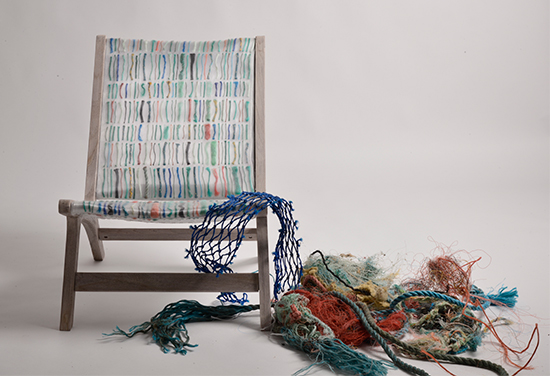 Chair made from ocean waste texile by Carmen V Machado