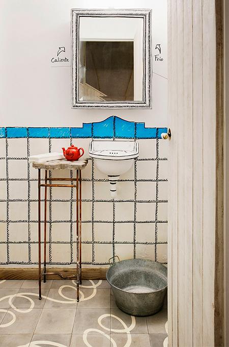 Sketch effect bathroom interior at Mamo Campo
