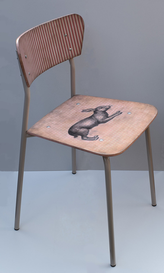 Vintage school chair upcycled with rabbit motif decoupage