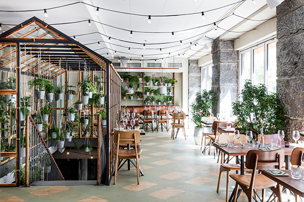 Botanical restaurant interior decorated with plants