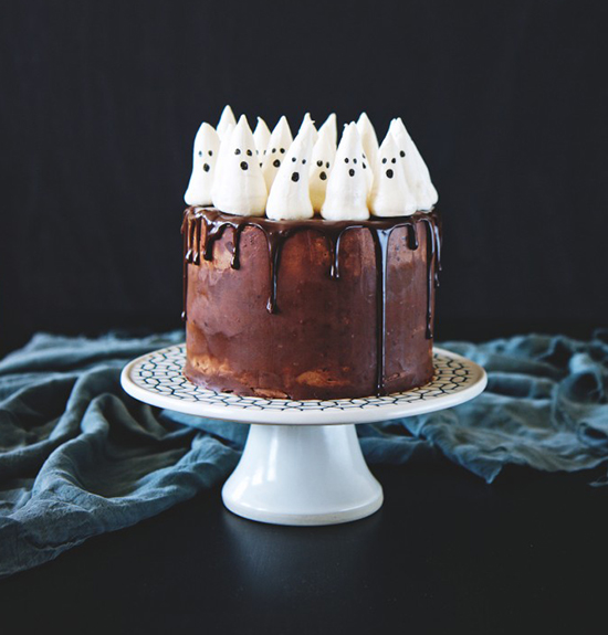 Chocolate pumpkin cake with meringue ghosts