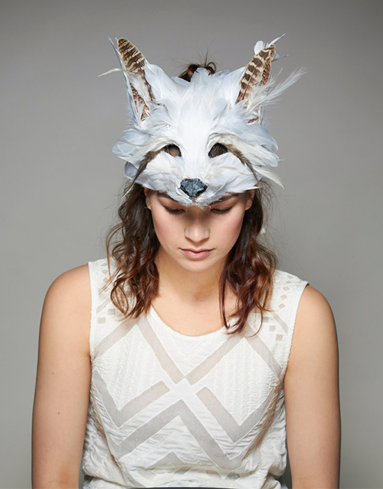 Fox mask made from feathers and natural materials