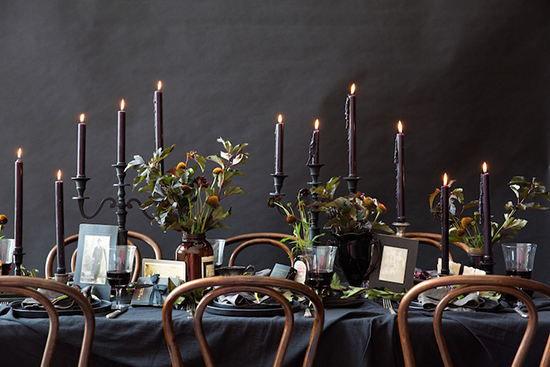 Halloween dinner setting with black accessories