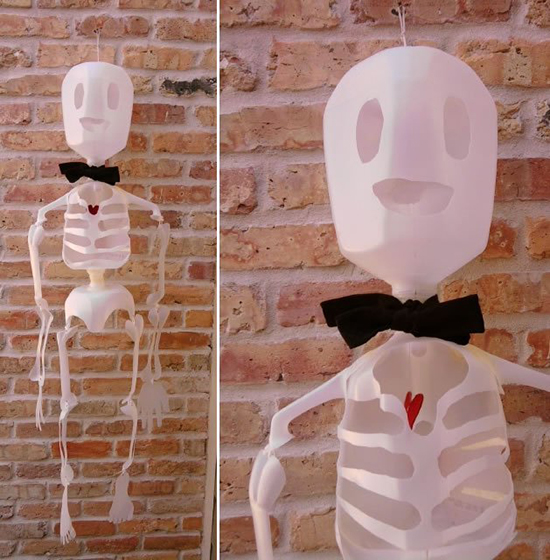 Skeleton made from recycled milk jugs