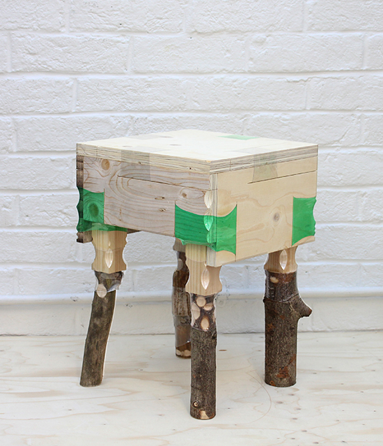 Stool made from wood offcuts and heated recycled plastic bottles by Micaella Pedros
