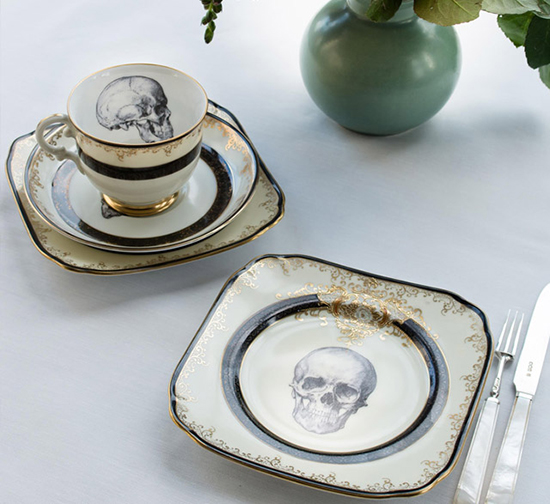 Vintage china teacup and plate upcycled with skull design by Melody Rose