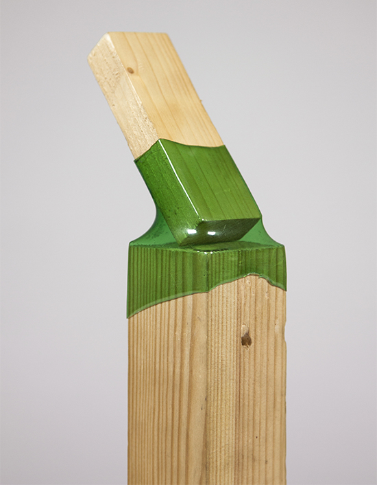 Wood offcuts joined with heated recycled plastic bottle