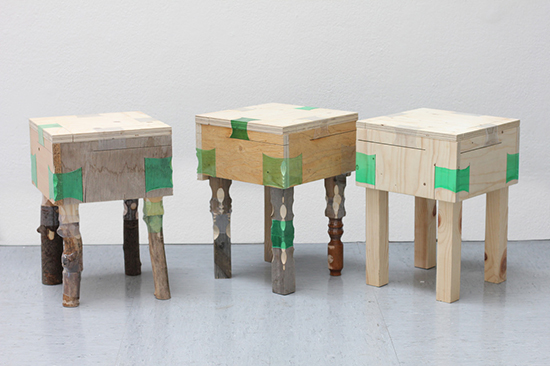 Stools made from wood and heated recycled plastic bottles by Micaella Pedros