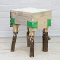 wooden stool made from recycled plastic bottle joinery