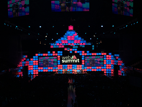 Centre stage lit up with repurposed water tanks at Web Summit 2016