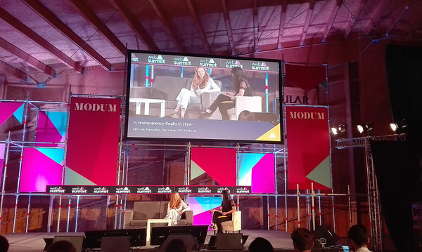 Lily Cole being interviewed by Zing Tsjeng at Web Summit 2016