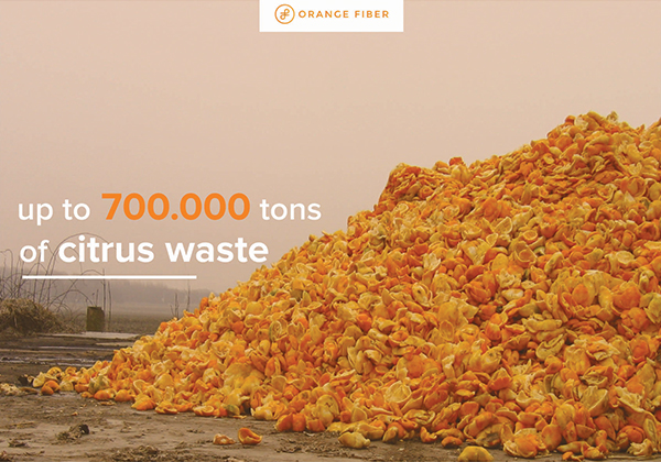 Pile of orange peel waste
