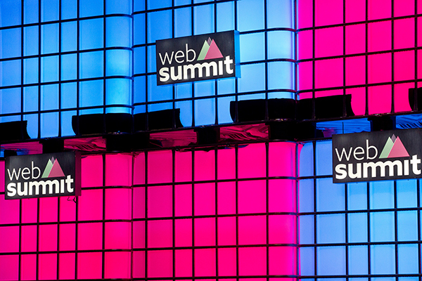 Stage set built from repurposed caged water tanks at Web Summit 2016