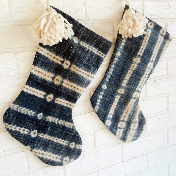 Blue and white Christmas stocking made from upcycled vintage fabric