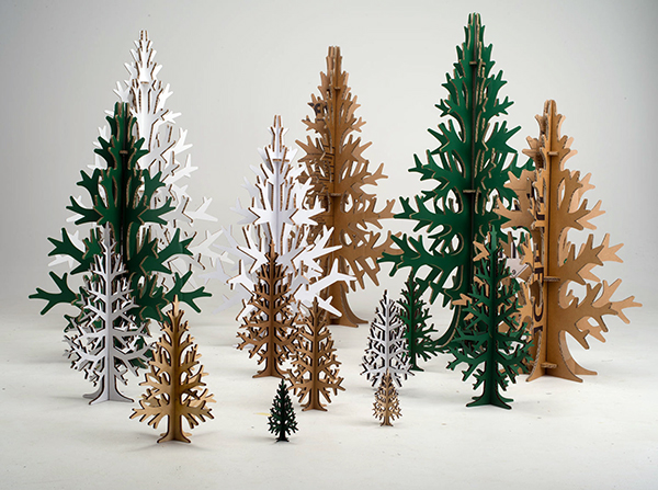christmas trees in varying sizes made from cardboard