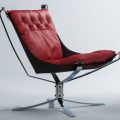 Chrome Falcon Chair with red cushion