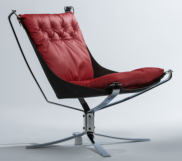 Chrome falcon chair with a pillar box red cushion