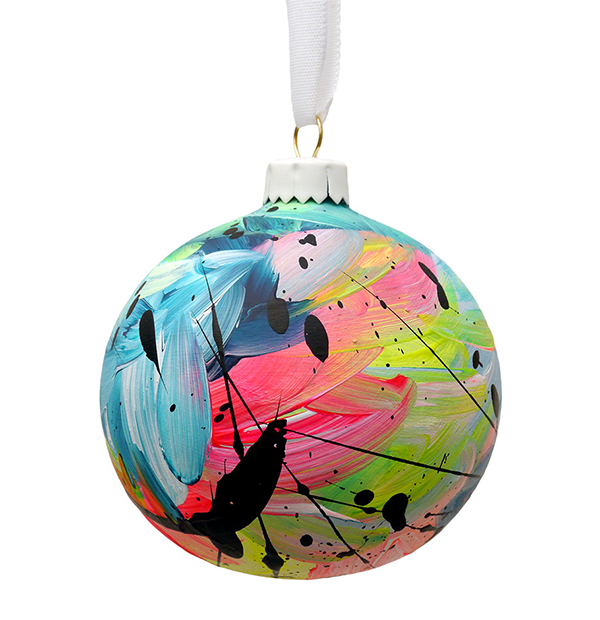 Contemporary hand painted ceramic bauble by EatPrayPedal