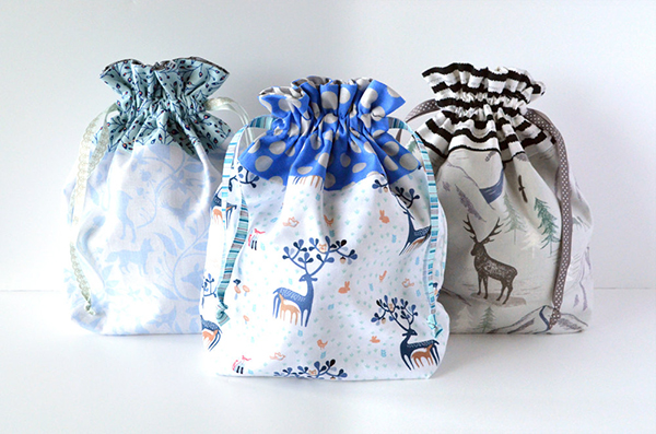 Drawstring gift bags made from deer print fabric by Sew and Tell Handmade