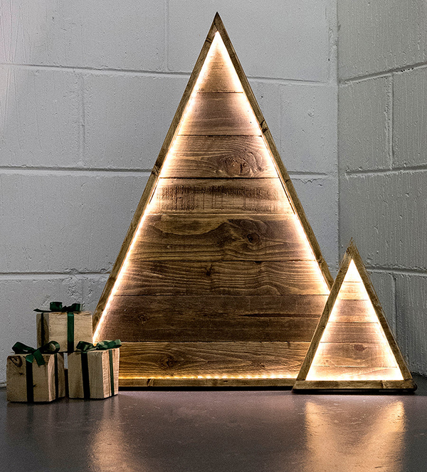 Reclaimed wood modern Christmas trees with LED lights