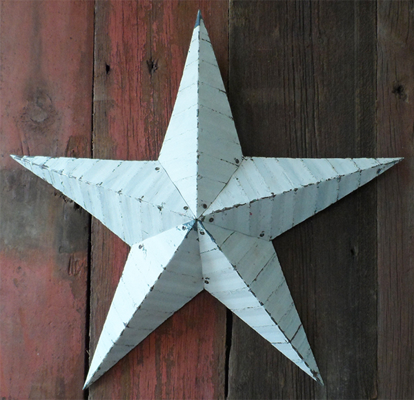 White Amish barn star made of recycled tin from TrampsUK