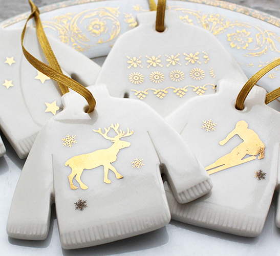 White and gold porcelain Christmas jumper decorations best Etsy shops for Christmas