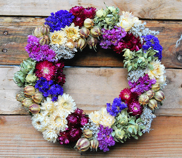 Wreath made from dried flowers