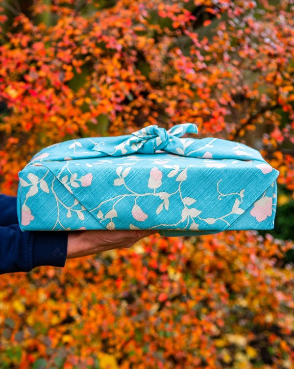 blue furoshiki eco friendly wrapping cloth