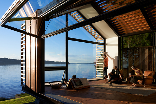 Admiring the view of Puget Sound from the holiday cabin