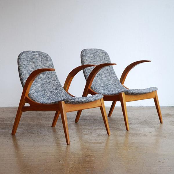 Grey upholstered Czech oak sling chairs