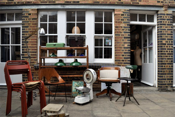 Shopfront of B Southgate vintage homeware shop
